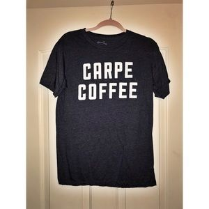 "Navy Blue ""Carpe Coffee"" Graphic Tee Shirt Size M"
